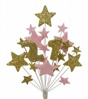Number age 21st birthday cake topper decoration in gold and pale pink - free postage